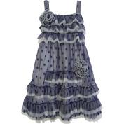 Isobella & Chloe Baby Girls Navy Polka Dots Ruffle Flower Party Dress 18M