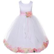 Kids Dream Little Girls White Satin Pink Petal Flower Girl Dress 4