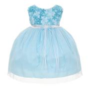 Kids Dream Baby Girls Blue 3D Chiffon Flowers Mesh Special Occasion Dress 18M