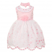 Baby Girls Pink White Floral Jewelled Easter Flower Girl Bubble Dress 6M