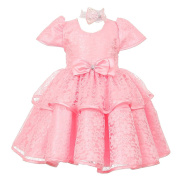 Baby Girls Pink Floral Embroidered Lace Overlay Bow Flower Girl Dress 6M