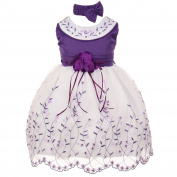 Baby Girls Purple White Floral Jewelled Easter Flower Girl Bubble Dress 18M