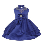 Baby Girls Royal Blue Rhinestud Bow Easter Special Occasion Dress 3M