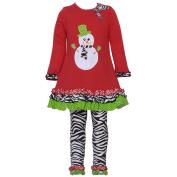 Rare Editions Baby Girls Red Snowman Zebra Print Christmas Legging Set 18M