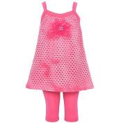 Kash Ten Little Girls Fuchsia Perforated Design Flower 2 Pc Legging Set 2T