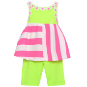 Rare Editions Baby Girls Lime Pink Stripe Flower 2 Pc Pants Outfit 18M