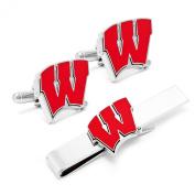 University of Wisconsin Badgers Cufflinks and Tie Bar Gift Set