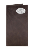 NCAA Clemson Tigers Brown Wrinkle Leather Roper Concho Wallet, One Size