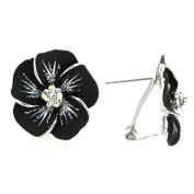 Black Hawaiian Plumeria Pierced Flower Earrings