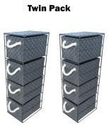 2 x Arpan 4 Drawer Storage Cabinet Unit for Bedroom/Bathroom/Home/Office - Black