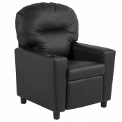 BCP Contemporary Black Leather Kids Recliner Chair with Cup Holder
