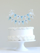 Amazing Buntings Birthday Cake Bunting Topper,Blue Colours,Hand Made in UK, 123020