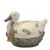 Fairmont & Main Black Leaves Emily Duck Egg Basket
