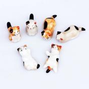 6pcs Chinese Ceramic Cat Pattern Chopstick Rest Spoon Fork Knife Holder