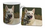 White German Shepherd Mug and Table Coaster, Ref:AD-WGSD1MC