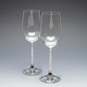 New Exclusive. Crystal Filled Stem Wine Glasses (Pair)?MOST PERFECT GIFT FOR WEDDING, ANNIVERSARY,ENGAGEMENT?