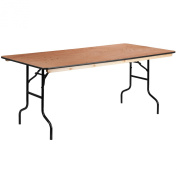 90cm x 180cm Rectangular Wood Folding Banquet Table with Clear Coated Finished Top