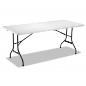 Alera Fold-in-Half Resin Folding Table, 71w x 30d x 29h, White