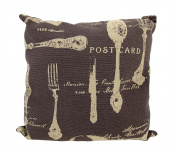 Brown/Tan Canvas French Cuisine Postcard Theme Decorative Throw Pillow 41cm .