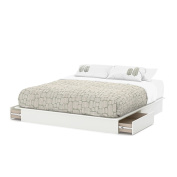 Step One King Platform Bed with Drawers in Pure White finish