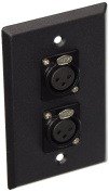 Seismic Audio - Black Stainless Steel Wall Plate - Dual XLR Female Connectors Black - SA-PLATE3