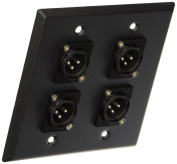 Seismic Audio Black Stainless Steel Wall Plate - 2 Gang with 4 XLR Male Connectors - Pro Audio Black - SA-PLATE4