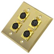 Seismic Audio Gold Stainless Steel Wall Plate - 2 Gang with 4 XLR Female Connectors Gold - SA-PLATE19