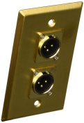 Seismic Audio - Gold Stainless Steel Wall Plate - Dual XLR Male Connectors Gold - SA-PLATE18