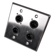 Seismic Audio Stainless Steel Wall Plate - 2 Gang with 4 XLR Male Connectors Silver - SA-PLATE38