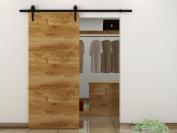 1.8m Sliding Barn Door Hardware Kit-Black Steel TSQ08