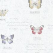 Brewster 2532-20454 Admiral Blue Butterflies And Script Wallpaper