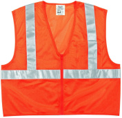 MCR Safety CL2MOPL Class 2 Polyester Safety Vest with 5.1cm Silver Stripe and Pocket, Fluorescent Orange, Large