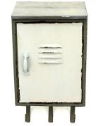 Vintage Look Metal Locker Style Cabinet 41cm Wall Storage with Triple Hooks