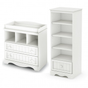 South Shore Savannah Changing Table and Shelving Unit with Drawer, Pure White