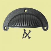 Cabinet Or Drawer Bin Pull Black Iron Cup 12cm X 4.4cm H | Renovator's Supply