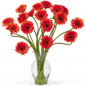 Gerber Daisy Liquid Illusion Silk Flower Arrangement, Orange