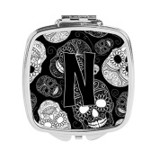 Letter N Day of the Dead Skulls Black Compact Mirror CJ2008-NSCM