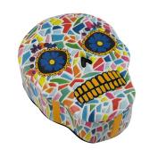 Colourful Mosaic Finish Moulded Sugar Skull Trinket/Stash Box