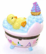Little Yellow Baby Duck in Pink Bassinet Crib Bubbles Trinket Box phb