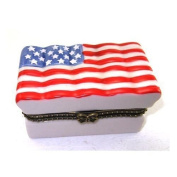 American Flag Stars and Stripes Red, White and Blue Porcelain Hinged Trinket Box