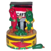 Hot Chilli Pepper Cafe Porcelain Hinged Trinket Box phb
