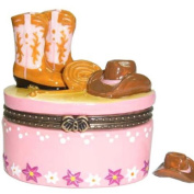 Pink Look Cowgirl Hat and Boots Porcelain Hinged Trinket Box phb