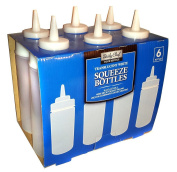 Daily Chef Translucent White Plastic Squeeze Bottles - 470ml - 6 pk.
