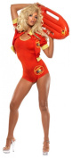Smiffy's Baywatch Lifeguard Costume with All-In-One Bodysuit, Jacket and Float - Red, Small
