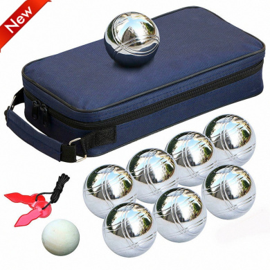 Popamazing® 8 Steel French Petanque Boules Balls Garden Game Set with Free Gift Boules Bag