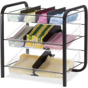 Officemate Giant Condiment and Cutlery Organiser. Contains Three Trays with Six Dividers. Black/Clear