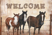 Welcome Mat with Horses Fabric Placemat SB3059PLMT