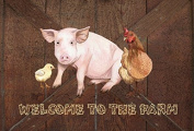 Welcome to the Farm with the pig and chicken Fabric Placemat SB3083PLMT