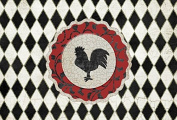 Rooster Harlequin Black and white Fabric Placemat SB3086PLMT