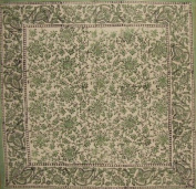 Daisy Chain Block Print Cotton Table Napkin 46cm x 46cm Green